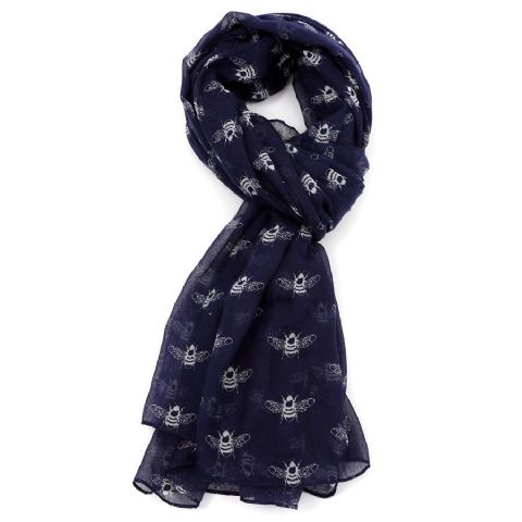 BEES SCARF NAVY